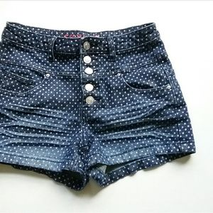dELiA*s Shorts - Delia's High Waist Polka Dot Buttonfly Jean Shorts